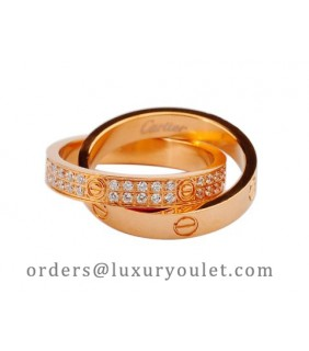 Cartier Infinity LOVE Ring in 18kt Pink Gold with Diamonds-Paved