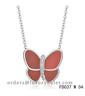 Van Cleef & Arpels Flying Butterfly Pendant,White Gold,Red Onyx