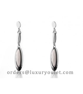 Cartier Drop Earrings in 18kt White Gold with White Opal