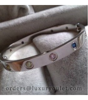 Cartier LOVE Bracelet in 18k White Gold With Coloured Stones