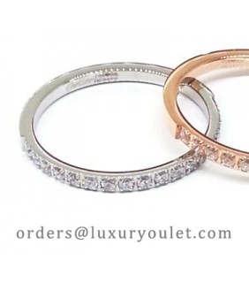 Cartier Lanieres Wedding Band Ring in White Gold Set With Diamonds