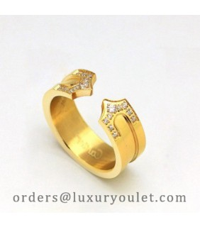 Cartier Double C Wedding Band Ring in 18k Yellow Gold Set With Diamonds