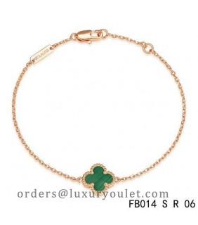 Van Cleef & Arpels Pink Gold Sweet Alhambra Clover Bracelet,Malachite