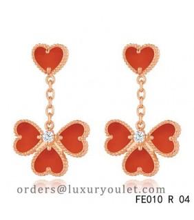 Sweet Alhambra Effeuillage Earclips Pink Gold 4 Carnelian