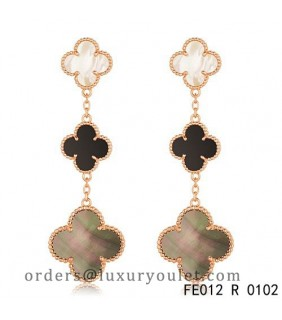 Van Cleef & Arpels Magic Alhambra 3 Clover Motifs Earclips in Pink Gold
