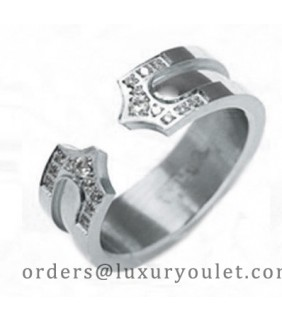 Cartier Double C Wedding Band Ring in White Gold Set With Diamonds