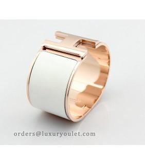Hermes Clic Clac H Bracelet White Enamel & 18kt Pink Gold,Wide