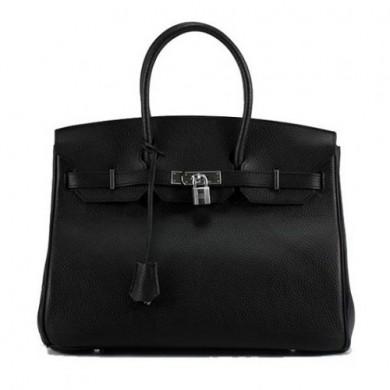 Hermes Birkin 35CM Togo Leather Handbag 6089 Black Silver