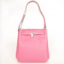 Hermes Sokelly Medium clemence leather in Peach with Silver hardware