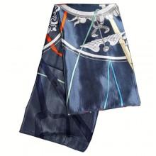 Authentic Hermes Pattern Silk Scarf Grey Deep Blue