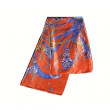 Authentic Hermes Pattern Silk Scarf Orange Blue