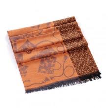 Discount Hermes Wool Shawl Scarf Brown Sale