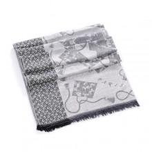 Discount Hermes Wool Shawl Scarf Light Grey Sale