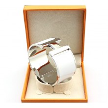 "Hermes ""H"" Logo Wide Bangle, White & White Gold"