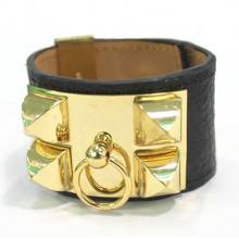 Hermes Black Corium With Pink Gold Rivets Bangle, Wide