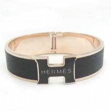 Hermes Black Color Logo Bangle With Pink Gold, Narrow