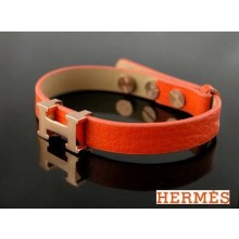 "Hermes Corium With Pink Gold ""H"" Logo Charm Bracelet, Orange"