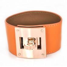 Hermes Orange Leather Bracelets With Pink Gold Turn Buckle, Wide
