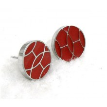 Hermes White Gold Earring With Red Color