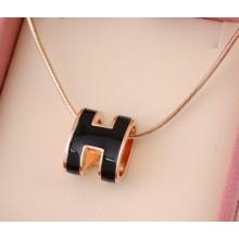 """Hermes 3D """"H"""" logo Snake Bone Necklace, Black & Pink Gold Charm"""