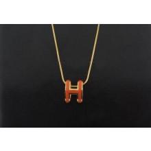 """Hermes 3D """"H"""" logo Snake Bone Necklace, Orange """"H"""" & Pink Gold Charm"""