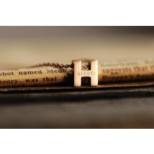 """Hermes """"H"""" letter cham with O chain necklace, 18k pink gold"""