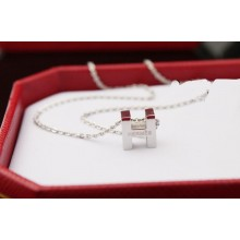 """Hermes """"H"""" letter cham with O chain necklace, 18k white gold"""