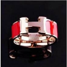 "Hermes ""H"" Ring, Red Enamel with 14K Rose Gold"