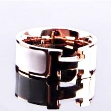 Hermes LOGO Ring, White Enamel with 14K Rose Gold