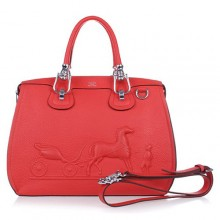 Hermes Leather Bag H1022 Red/Silver