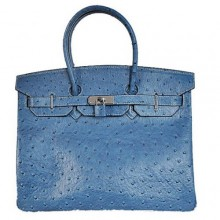 Hermes Birkin 35CM Tote Bags Ostrich Togo Leather Blue Silver
