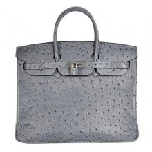 Hermes Birkin 35CM Tote Bags Ostrich Togo Leather Grey Silver