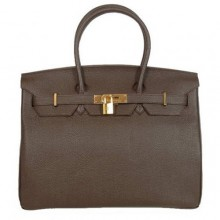 Hermes Birkin 35CM Tote Bags Smooth Togo Leather Dark Coffee Golden