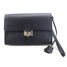 Hermes Jet Pochette Clutch Bag Clemence Leather Black