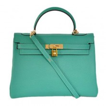 Hermes Kelly 32cm Bags Togo Leather Green Golden