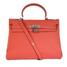 Hermes Kelly 32cm Bags Togo Leather Light Red Silver