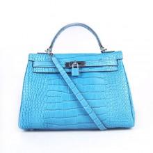 Hermes Kelly 32cm Crocodile Veins Leather Bag Blue Silver 6108