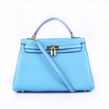 Hermes Kelly 32cm Togo Leather Bag Light Blue 6108 Gold