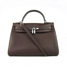 Hermes Kelly 32cm Togo Leather Dark Coffee Bag 6108 Silver