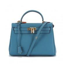 Hermes Kelly 32cm Togo Leather Handbags 6018 Blue Golden