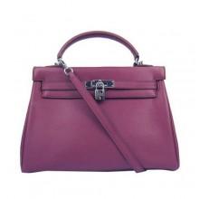 Hermes Kelly 32cm Togo Leather Handbags 6018 Bordeaux Silver