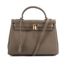 Hermes Kelly 32cm Togo Leather Handbags 6018 Dark Grey Golden