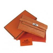 Hermes Kelly Wallet Orange Crocodile Veins H009