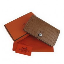 Hermes Leather Dogon Wallet H001 Coffee