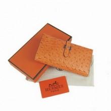 Hermes Leather Long Wallet H005 Orange