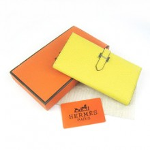 Hermes Leather Long Wallet H005 Yellow