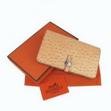 Hermes Light Coffee Leather Ostrich Veins Dogon Wallet H001
