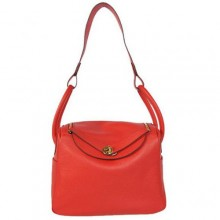 Hermes Lindy 30CM Havanne Handbags 1057 Red Leather Golden