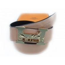 Hermes Pink Belt With Blue H Logo And Black-white Pattern 001