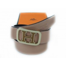 Hermes Pink Belt With Brown H Logo And Beige 005